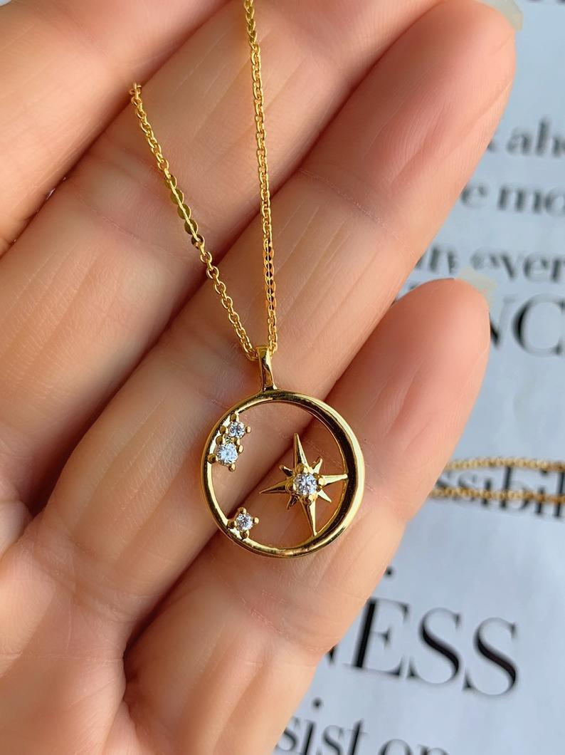 North Star Necklace Compass Necklace Gold Coin Necklace North Star Necklace Gold Compass Necklace Compass Necklace