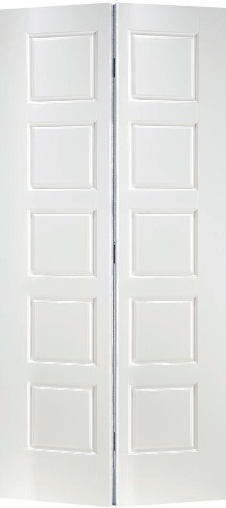 Primed 5 Panel Equal Smooth Interior Closet Bifold Door 30 Inch X 80 Inch
