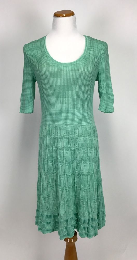 967c4a2026c7a MISSONI Wave Knit Zig Zag Sea Foam Green Dress 48 US 12 L XL #Missoni
