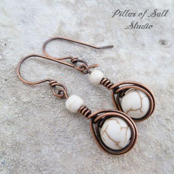 Copper wire wrapped earrings / earthy jewelry by Pillar of Salt ...