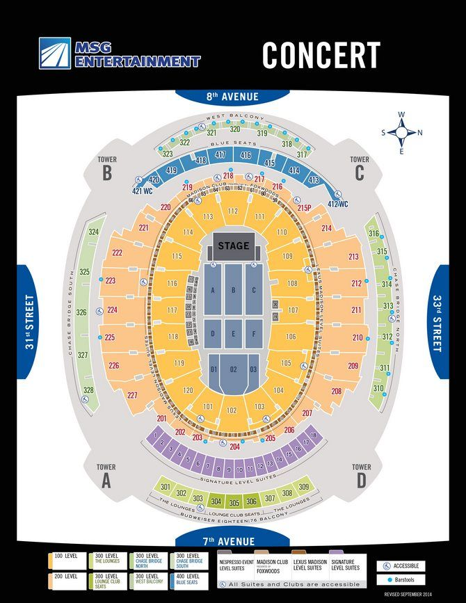 Seating madison square garden new york city msg concert