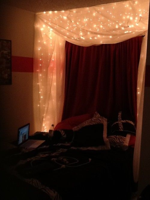 Lighted bed canopy   I used 3 strings of icicle lights with the white cord. And at Walmart they have window shaws that are about inches long. & http://25.media.tumblr.com/tumblr_m718exE2Zb1qfr71oo1_500.jpg ...