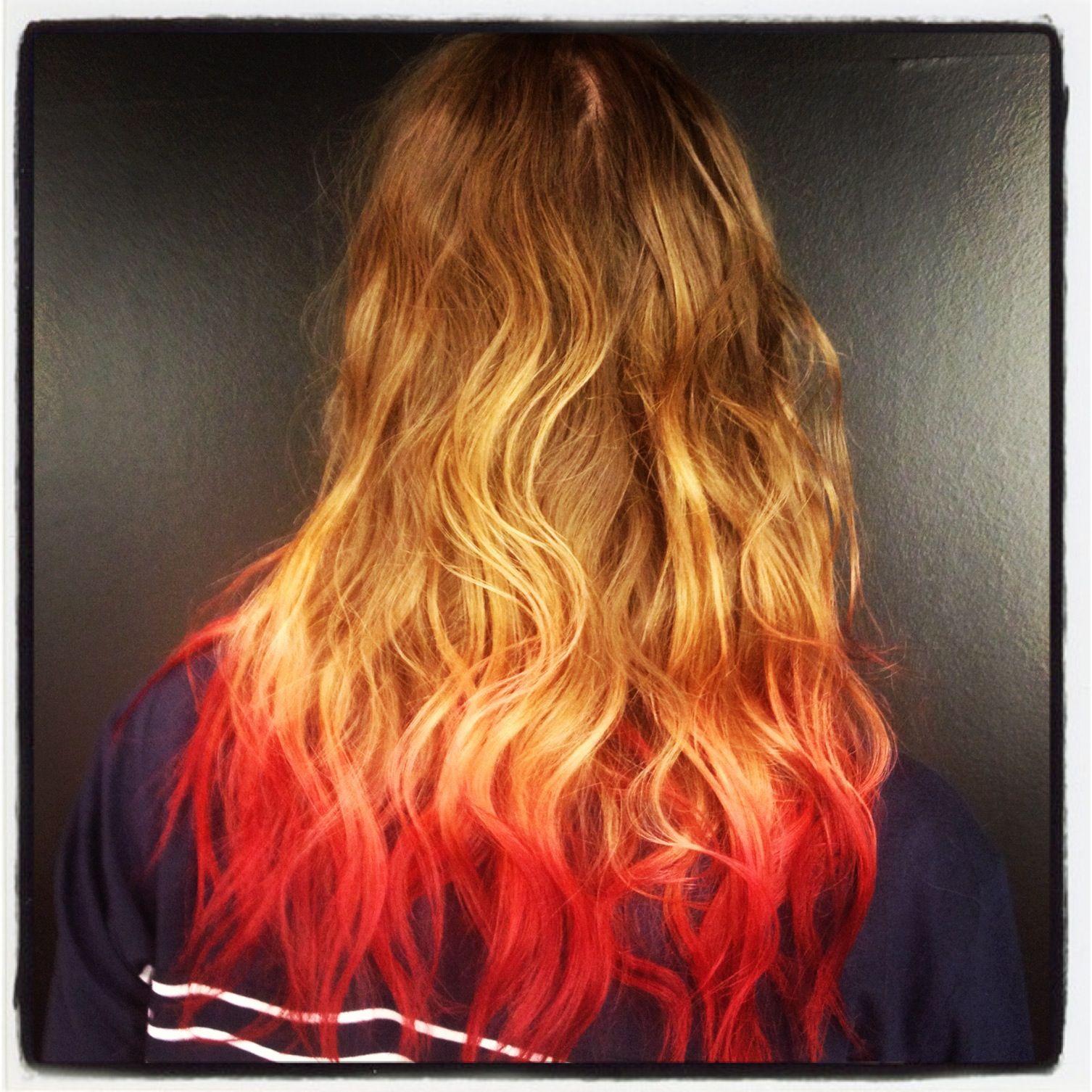 brown blonde pink red dip dye hair itd be for ragnar but