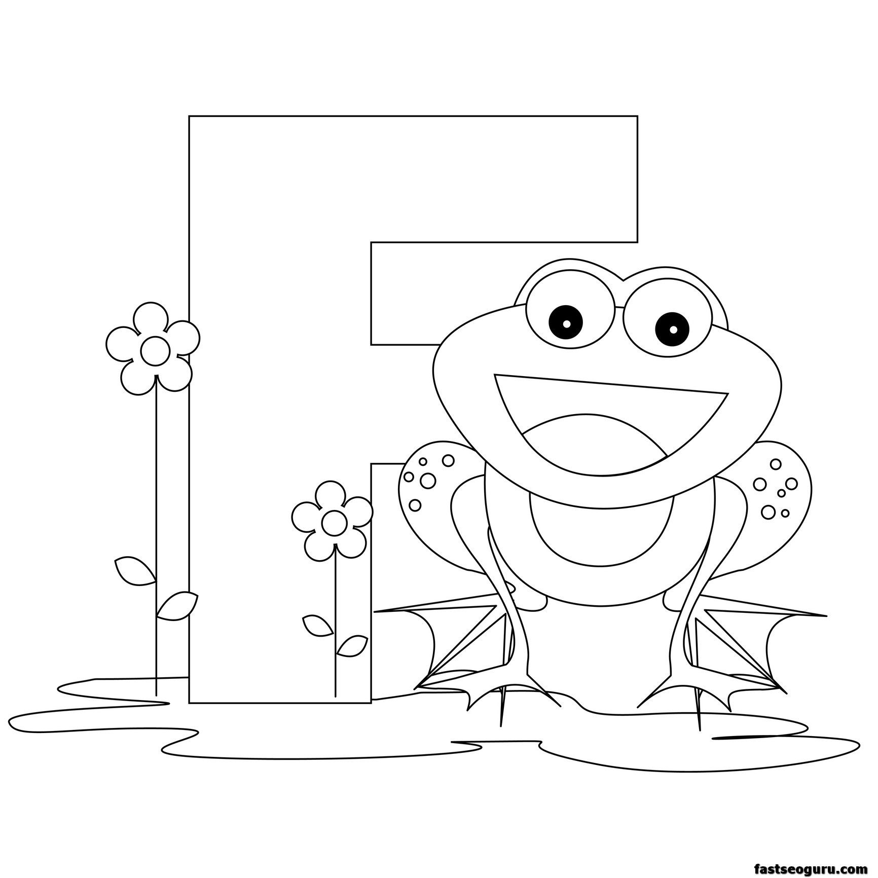printable alphabet coloring pages animals | Printable Animal Alphabet worksheets Letter F For Frog ...