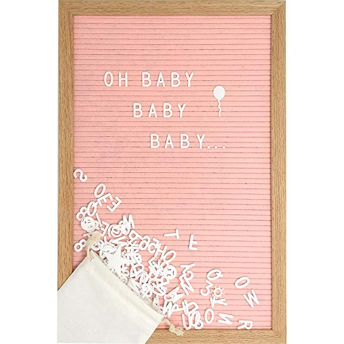 Amazon Com Pink Felt Letter Board Set With 12 X 17 Inch Oak Frame 374 Precut Letters And Emojis Scri In 2020 Felt Letter Board Script Words Baby Shower Decorations