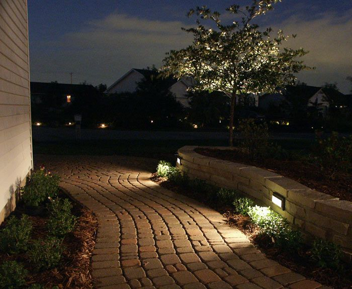 Landscape lighting in wall, on path Landscape revamp Pinterest Front yards