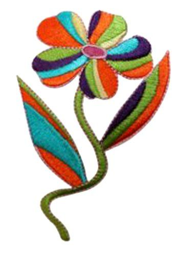 "[Single Count] Custom and Unique (2 3/4"" by 4 1/8"" Inches) Single Trippy Multi Colored Hippie Daisy Iron On Embroidered Applique Patch {Green, Purple, Orange, & Blue Colors} mySimple Products http://www.amazon.com/dp/B01600Y8MO/ref=cm_sw_r_pi_dp_sRwMwb1XPTRRJ"