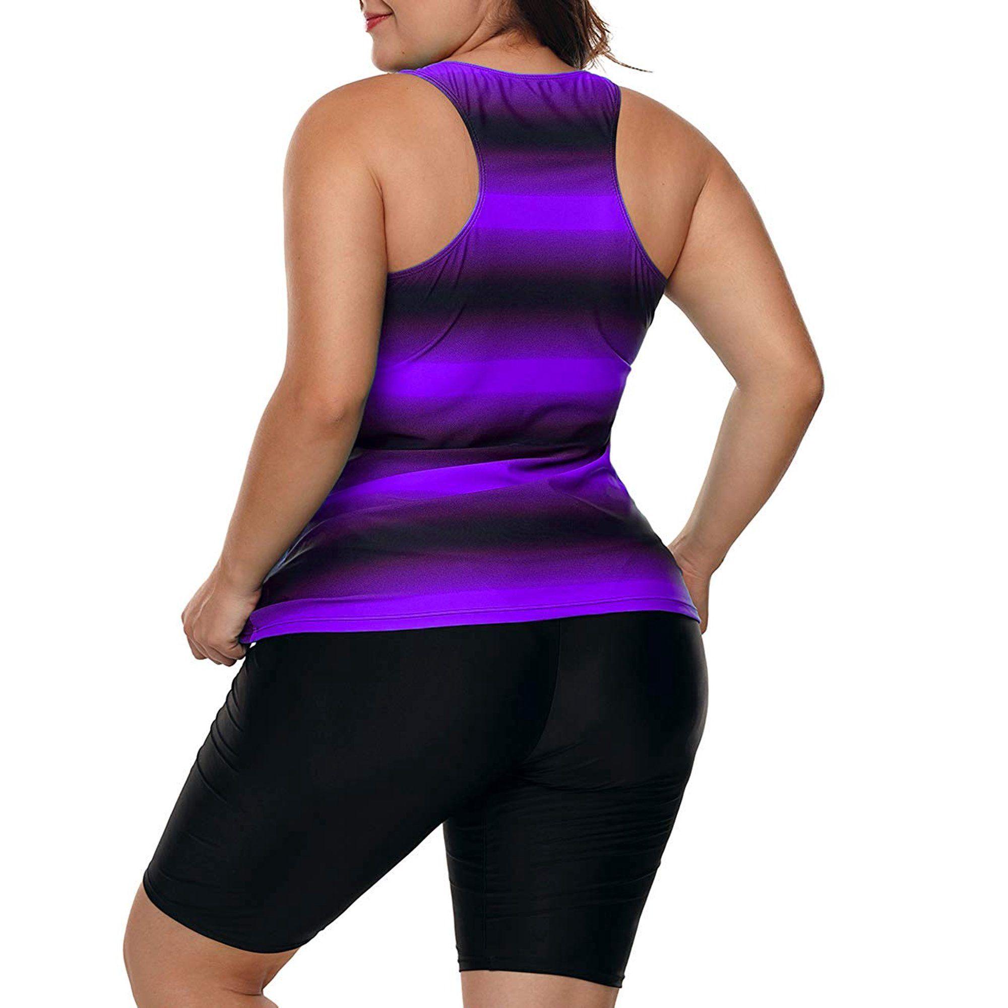 Kawell Women's Plus Size Rash Guard Capris Tankini