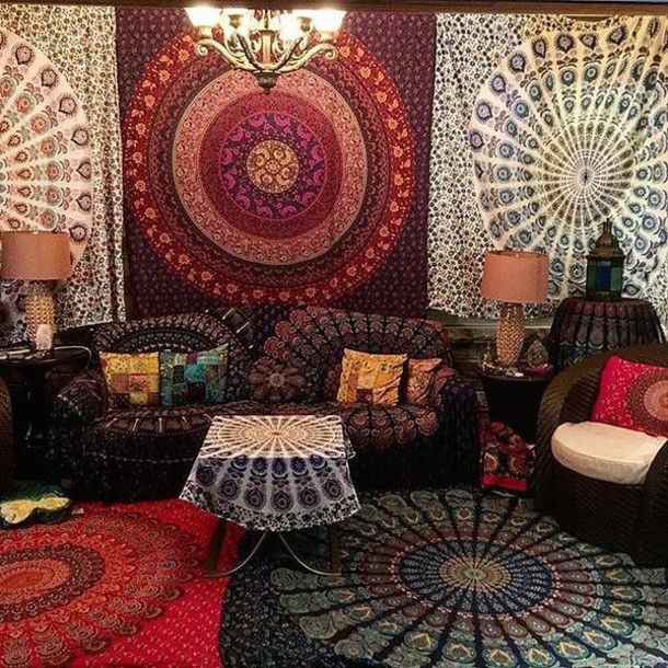 Mandala Wall Decor home accessory musical tapestry black mandala tapestry tree of