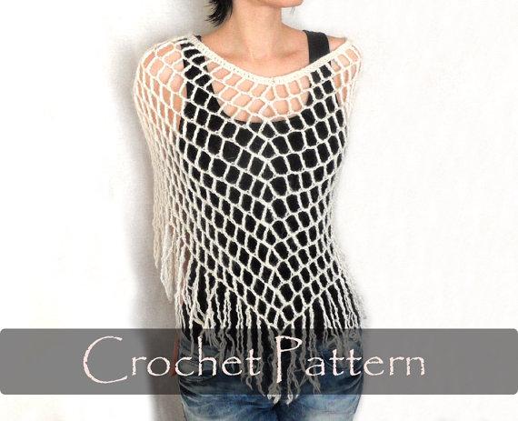 Crochet Pattern Crochet Spiderweb Poncho Crochet Poncho Pattern