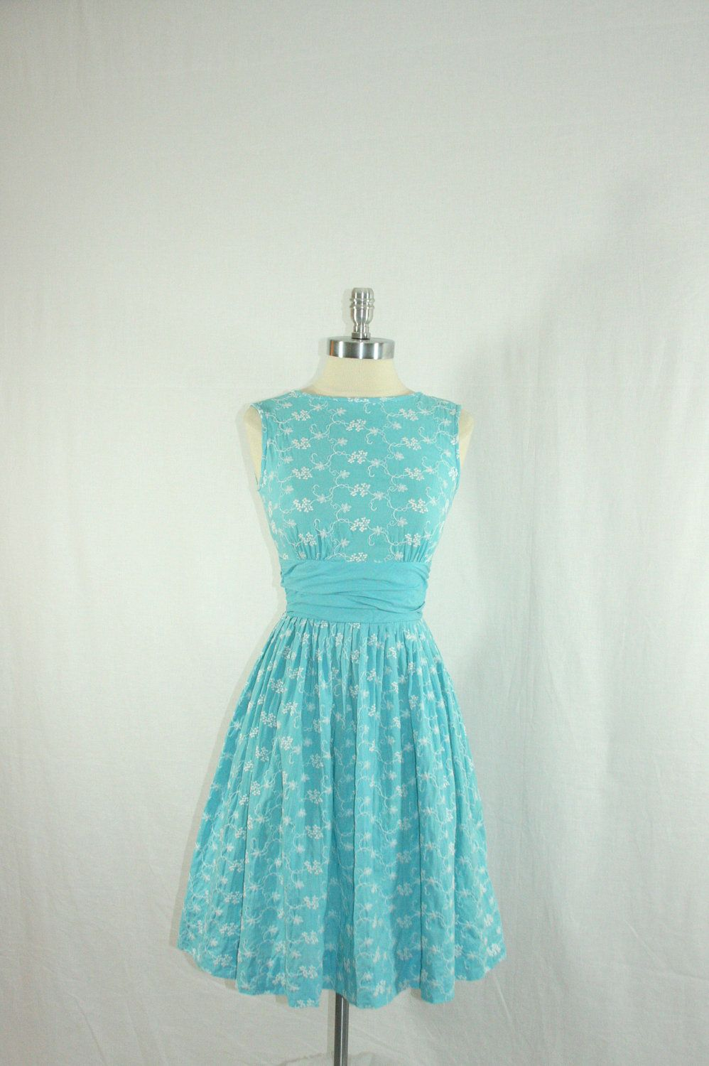1950s Summer Dress - Blue Cotton with White Embroidery of Grapes and ...