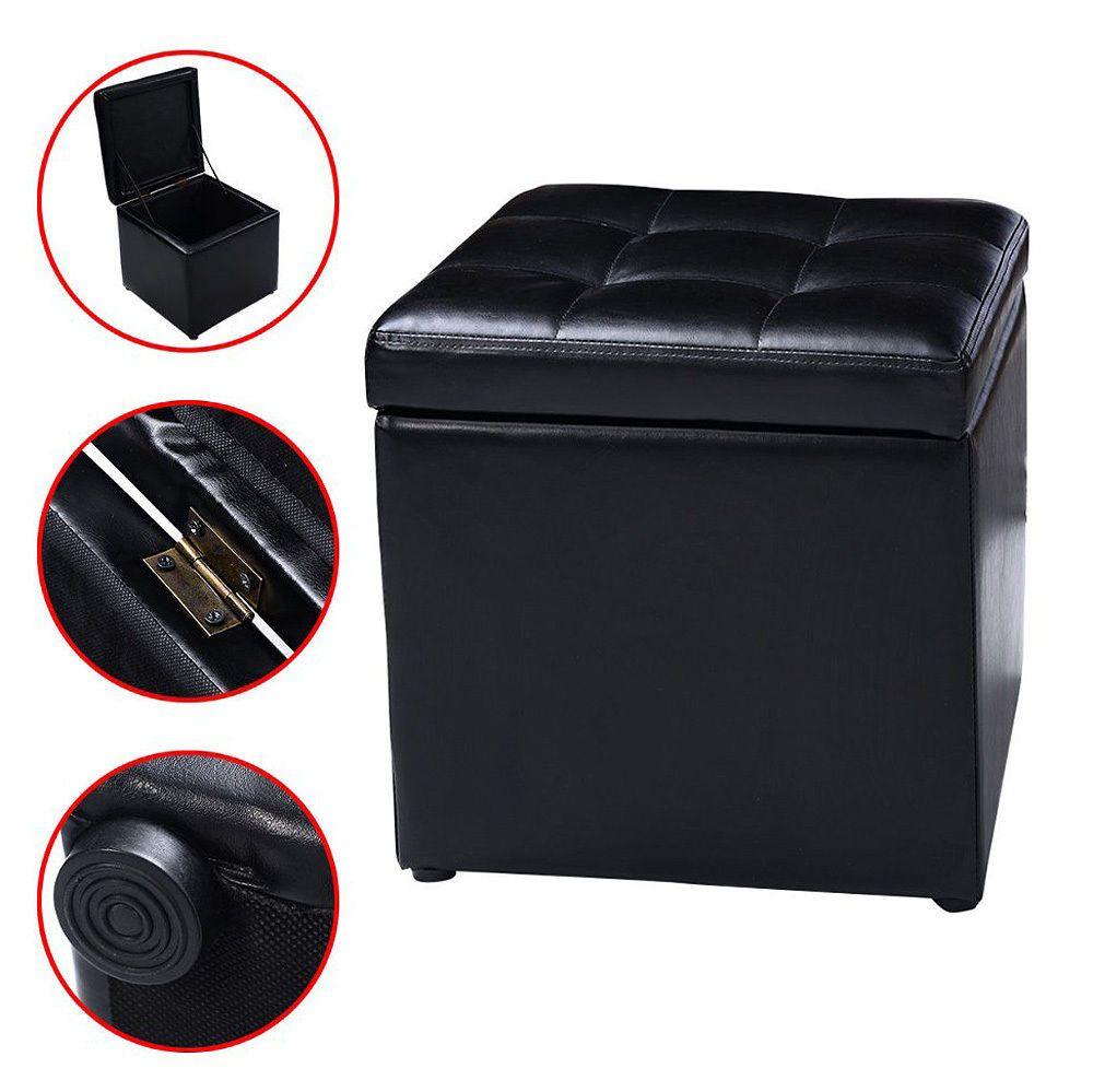 Marvelous Small Ottoman Storage Black Leather Stool Folding Chest Seat Ibusinesslaw Wood Chair Design Ideas Ibusinesslaworg