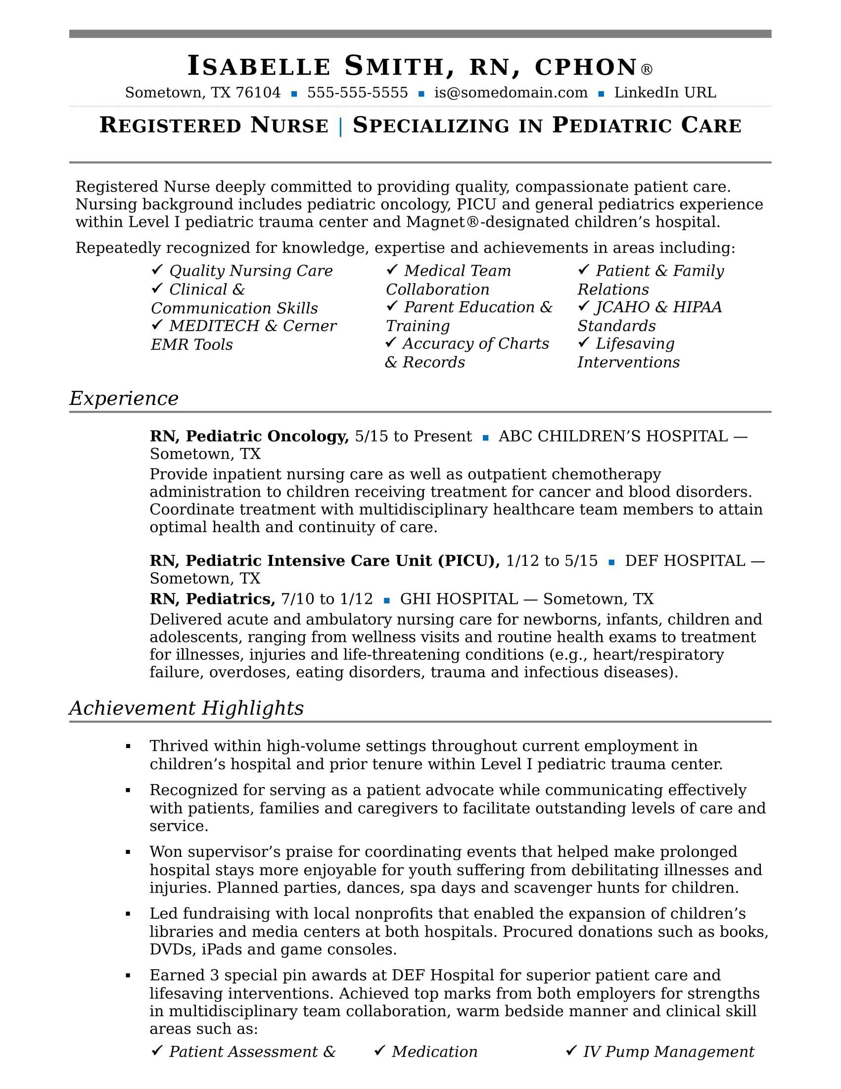 Nurse resume sample nursing resume template nursing