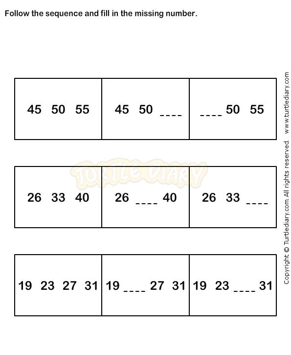 Number Sequence Worksheet 9 - math Worksheets - grade-1 Worksheets