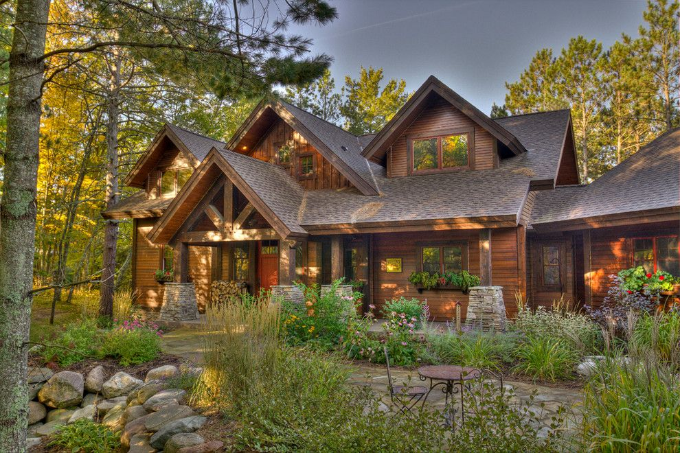 Gaf timberline rustic exterior decoration ideas for Lake home landscape design