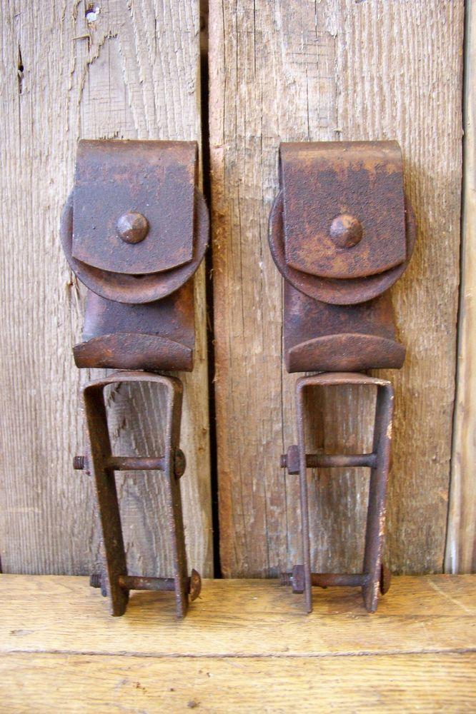 2 Antique Hanging Barn Door Track Rollers Vintage Farm Hardware