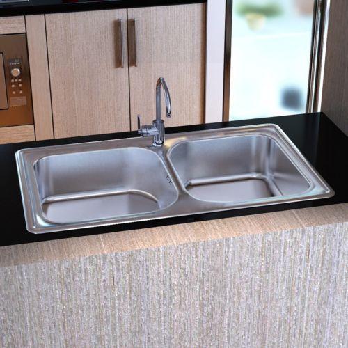 vidaXL Lavello lavabo lavandino doppio quadrato cucina acciaio inox ...