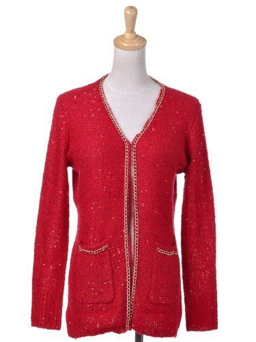 Anna-Kaci S/M Fit Red Mini Gold Chain Trim Sprinkled Sequins ...
