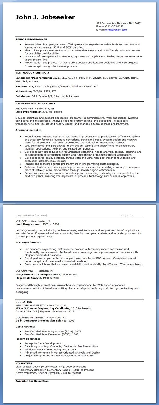 Computer Programmer Resume Examples Resume Examples