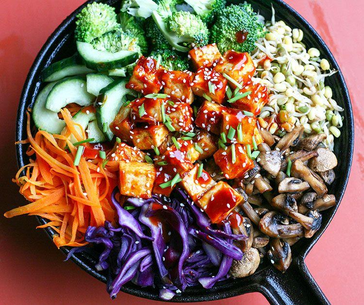 Cast iron skillet Bibimbap. Vegan version of the Korean favorite!   by Maikin mokomin #vegan, #glutenfree