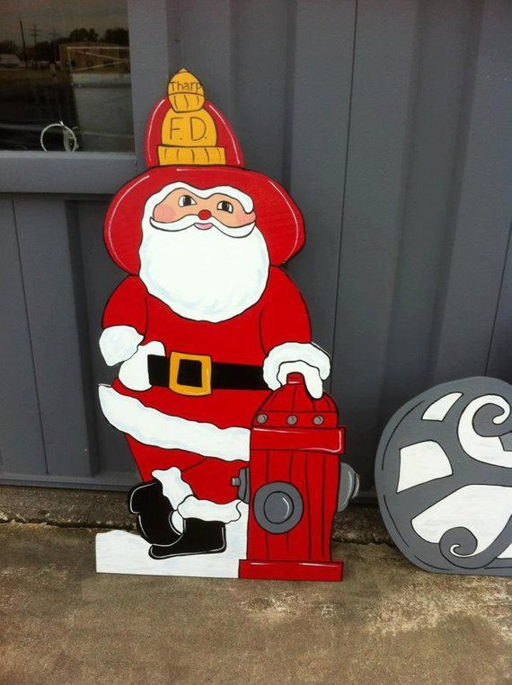Christmas Fireman Santa Holiday Wooden Yard Sign Art Personalized