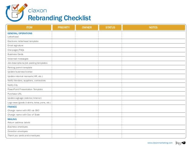 rebranding checklist item business cards voicemail messages job descriptions  job posting