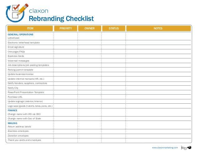 Rebranding Checklist Item Business Cards Voicemail messages Job - product description template