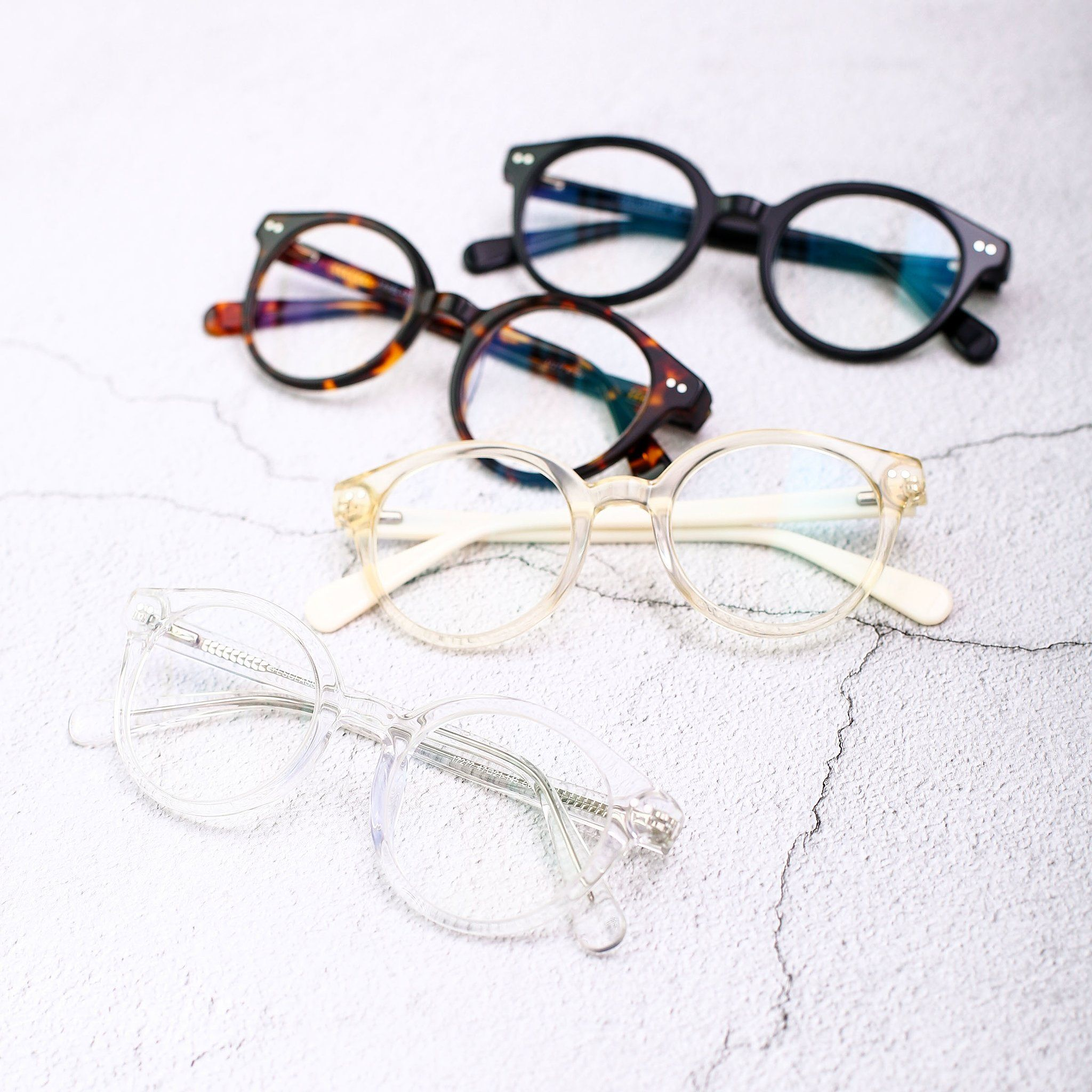 Clear Narrow Horn Rimmed Round Eyeglasses 17277 Horn Ad