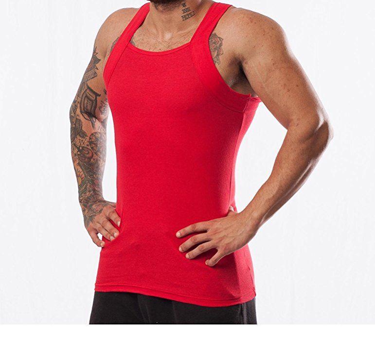 baaeea009 2 Pack Men's G-unit Style Tank Tops Square Cut Muscle Rib A-Shirts ...