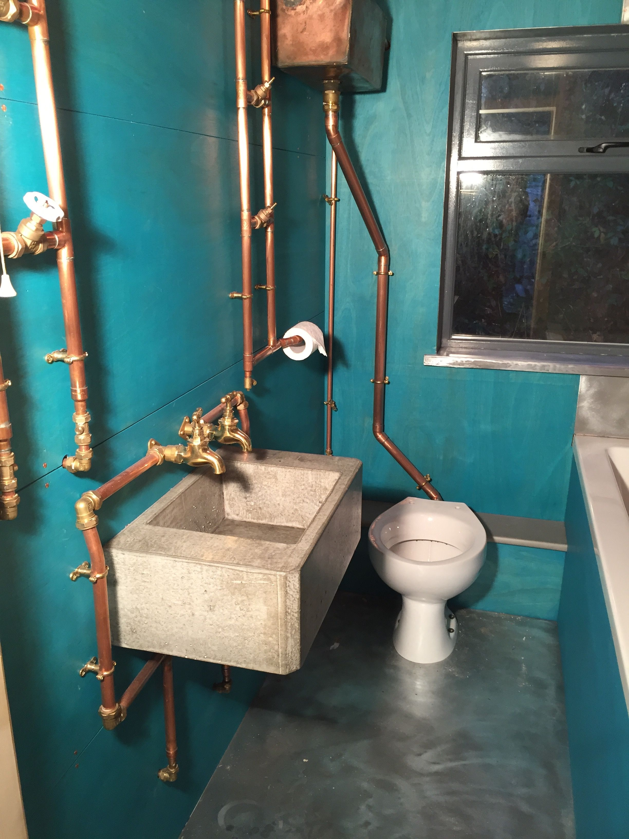 Industrial Style Bathroom Exposed Copper Piping And Concrete Sink Ply Walls Turquoise