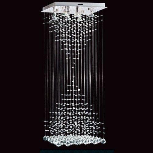 Lampara Colgante De Techo Con Cristales Y Caireles Estratos Dobles Hanging Crystals Chandelier Design Hotel Chandelier
