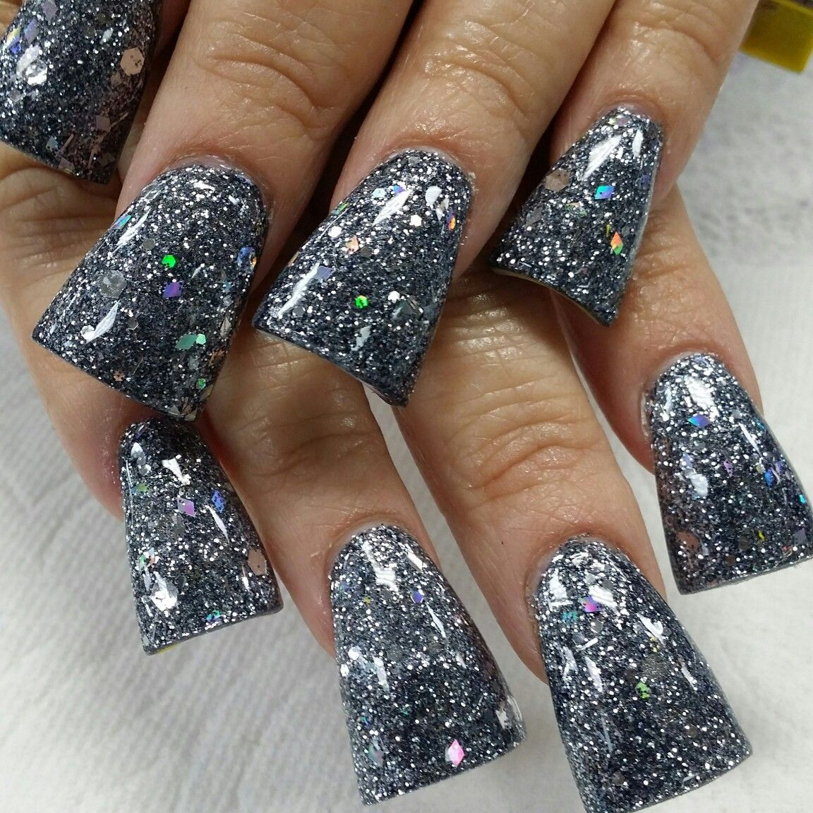 Chunky gun metal grey slightly flared | Long Nail Art | Pinterest ...