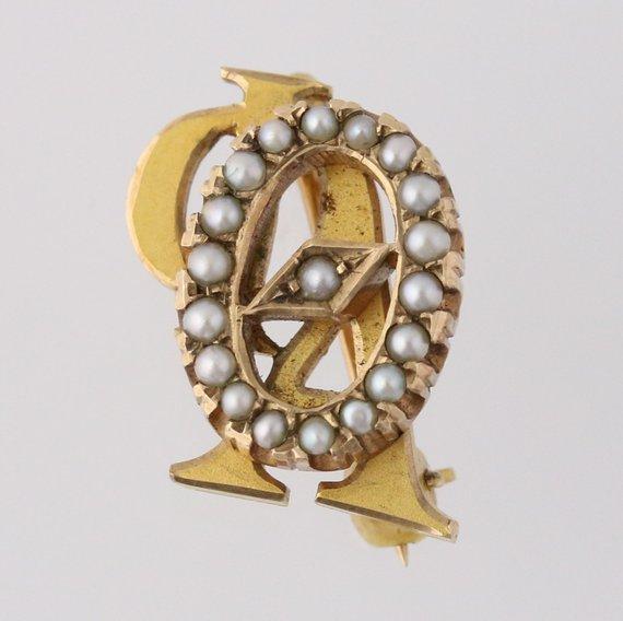 3b1ba1861b30 Omicron Phi Alpha - 10k Yellow Gold Pearls fraternity Greek Society Pin  q1597