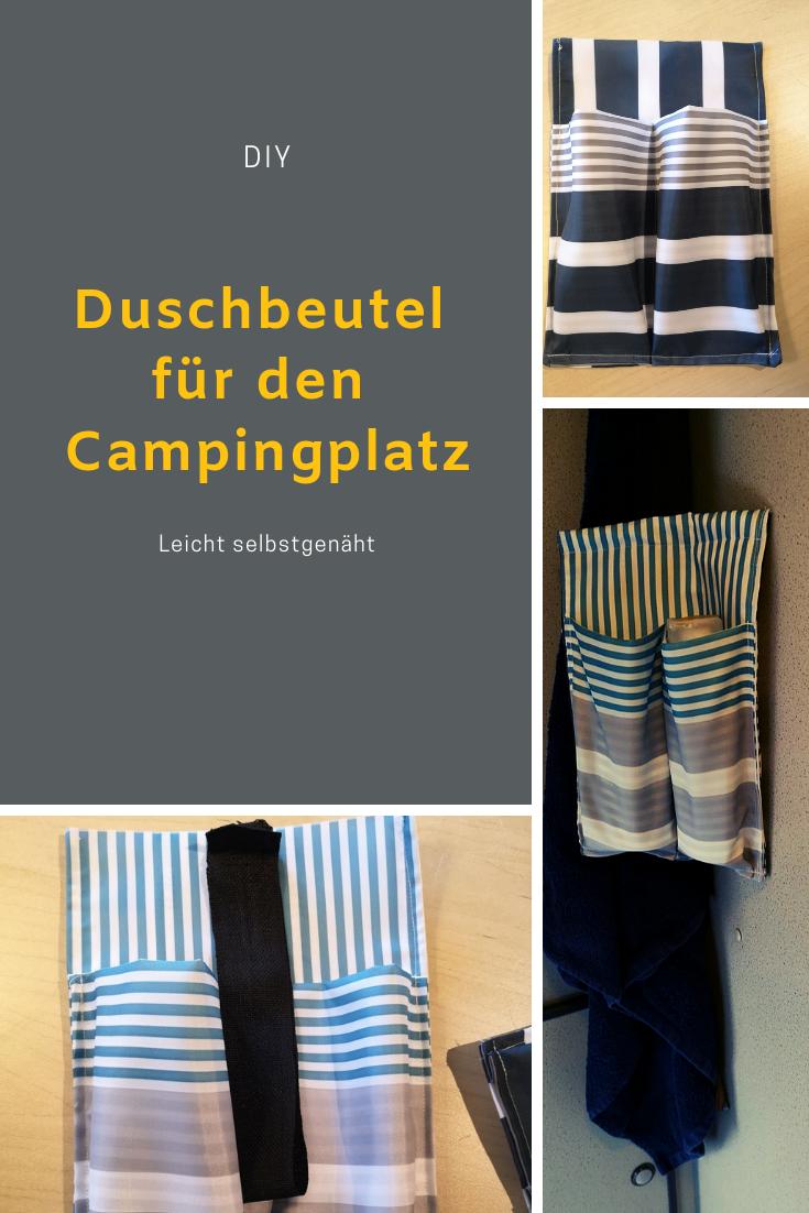 DIY Duschbeutel für den Campingplatz Dusche, Camping