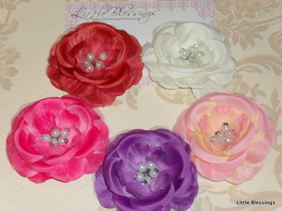 ANY TWO Pearl Centered Flower Hair Clips by littleblessings99, $10.00