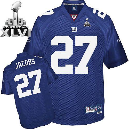 Giants Brandon Jacobs #27 Blue Super Bowl XLVI Embroidered NFL ...