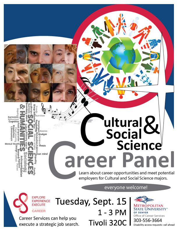 Culture And Social Science Careers Panel Location Tivoli 320c Time 1 00pm 3 00pm Jo Social Science Metropolitan State University Career Opportunities