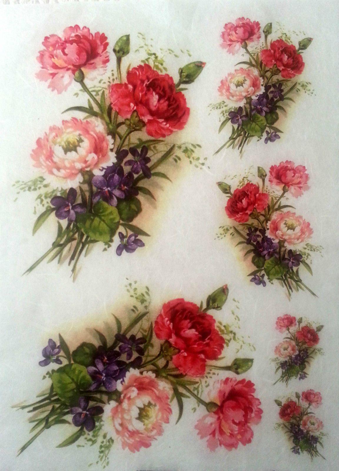 165 Gbp Rice Decoupage Paper Flowers 5 Decoupage Sheets