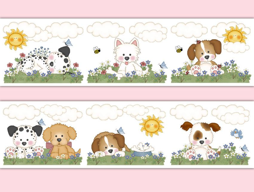 Puppy Dog Nursery Decor Decals Baby Girl Wallpaper Border Wall Art Stickers Part 90