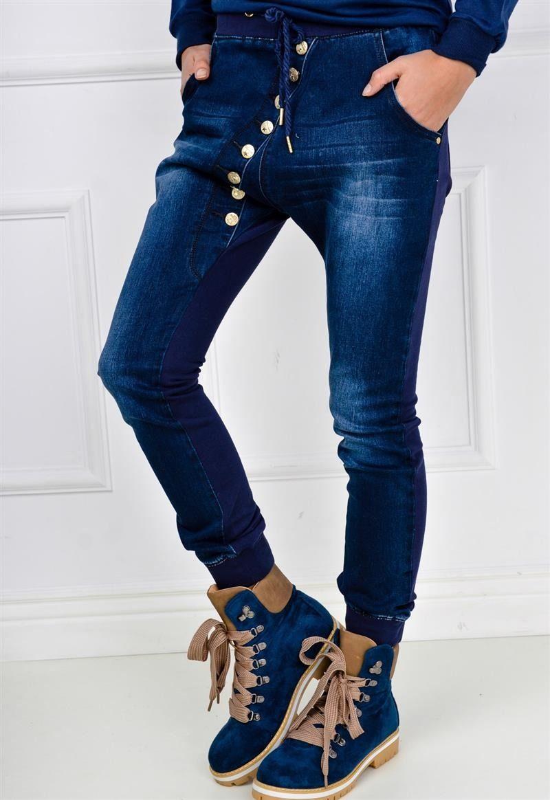 Spodnie Jeansowo Dresowe Typu Baggy Z Guzikami Kobieta Odziez Spodnie Sukienki Shop Skinny Jeans Fashion Skinny