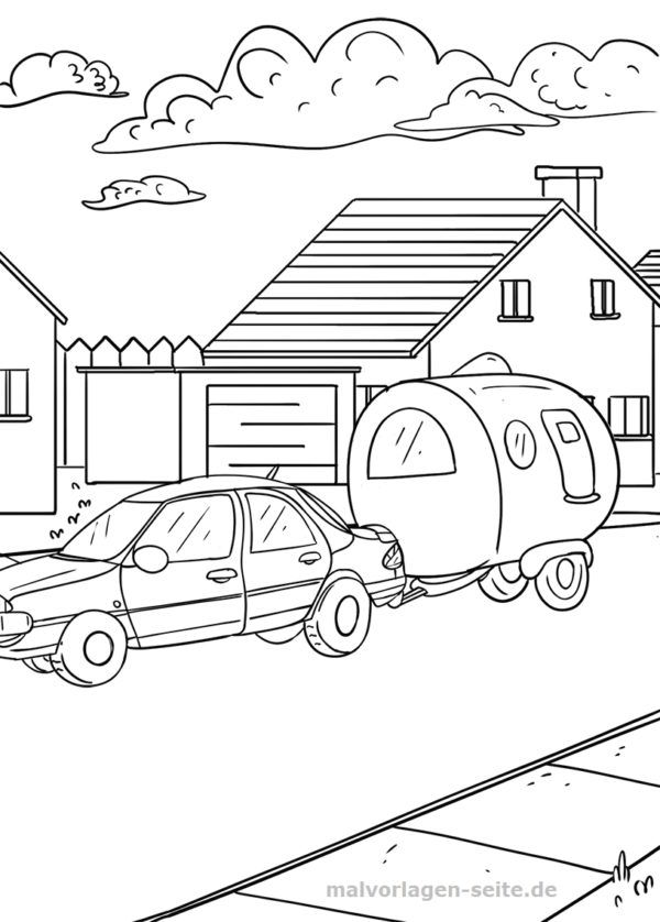 malvorlage auto mit wohnwagen camping  kostenlose