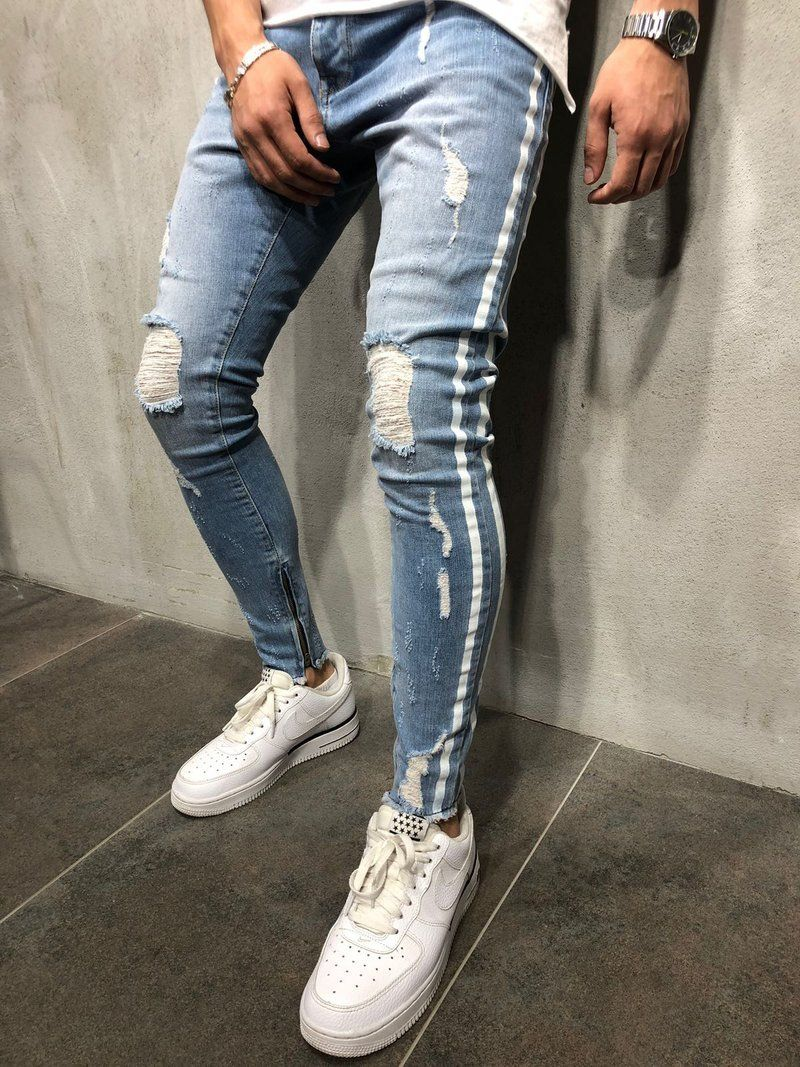 8b2b94977a4 New Men Slim fit Knee Holes hip hop skinny jeans fashion Side white stripe  Distressed Ripped Stretch Streetwear Denim trousers