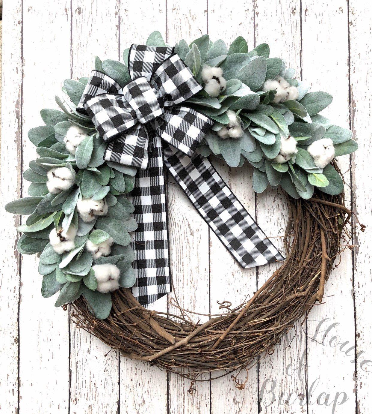 Photo of Farmhouse wreath, buffalo check wreath, lamb ear wreath, farmhouse decor, year-round wreath, front door wreath, spring wreath, cotton wreath