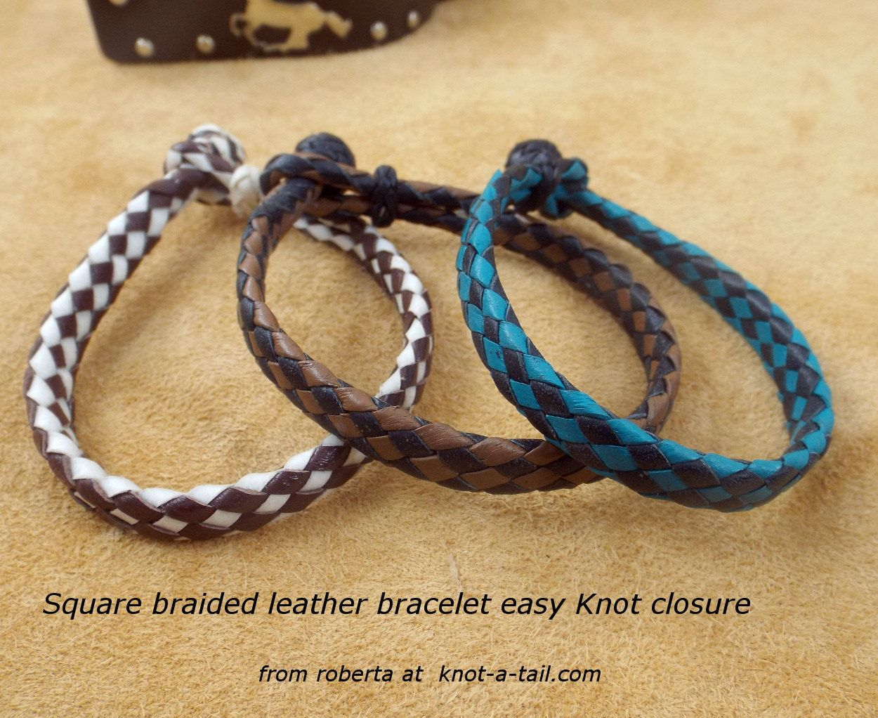 Two Tone Leather Bracelet Western Hand Made Easy On Cowboy Real By Knotatail