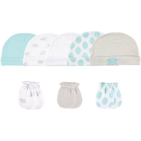 868af6210e8 Luvable Friends Newborn Baby Neutral Cap 5-Pack   Mitten 3-Pack - Elephant