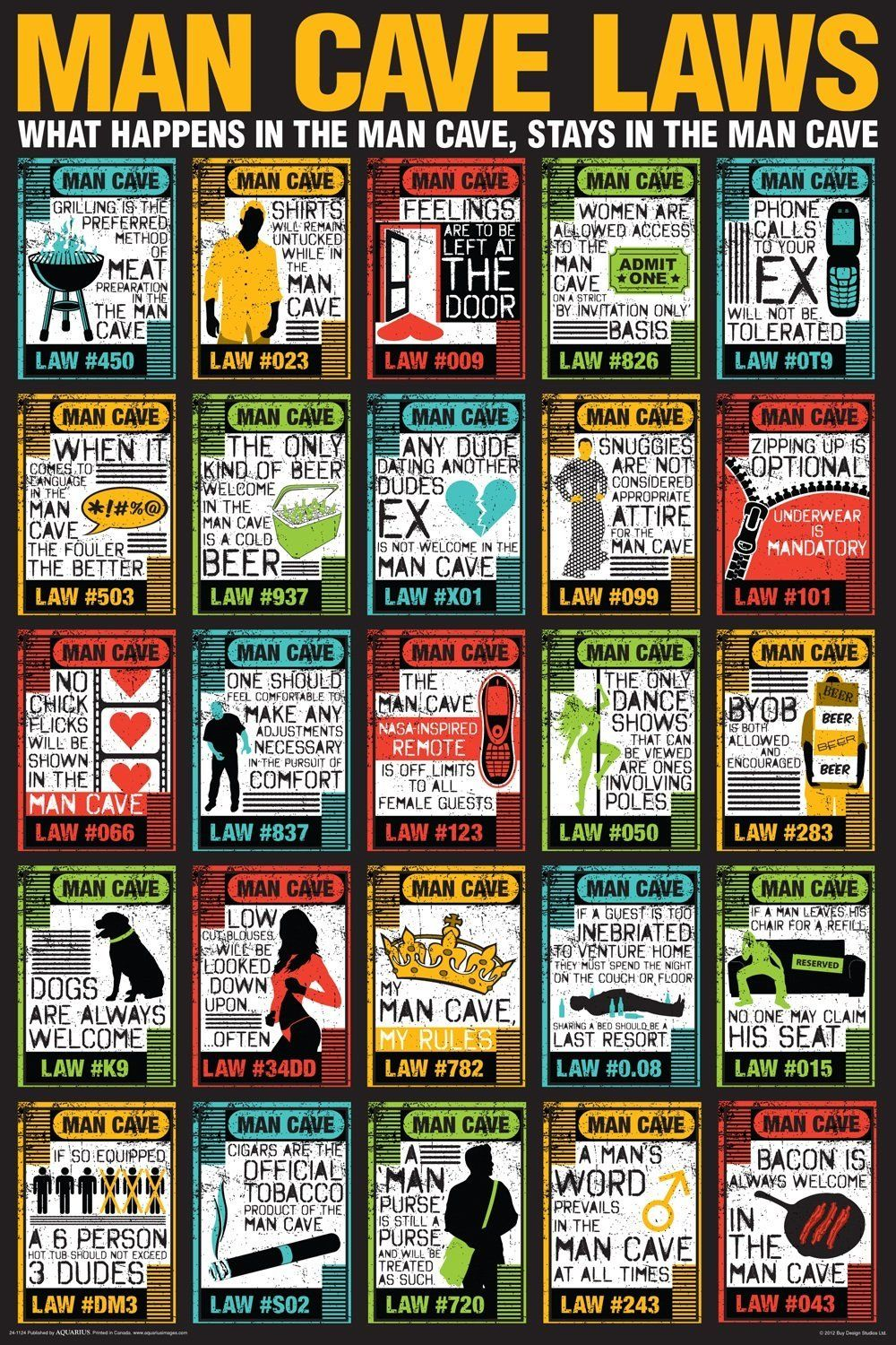 Man Cave Posters For Sale : Man cave laws poster on sale for signs
