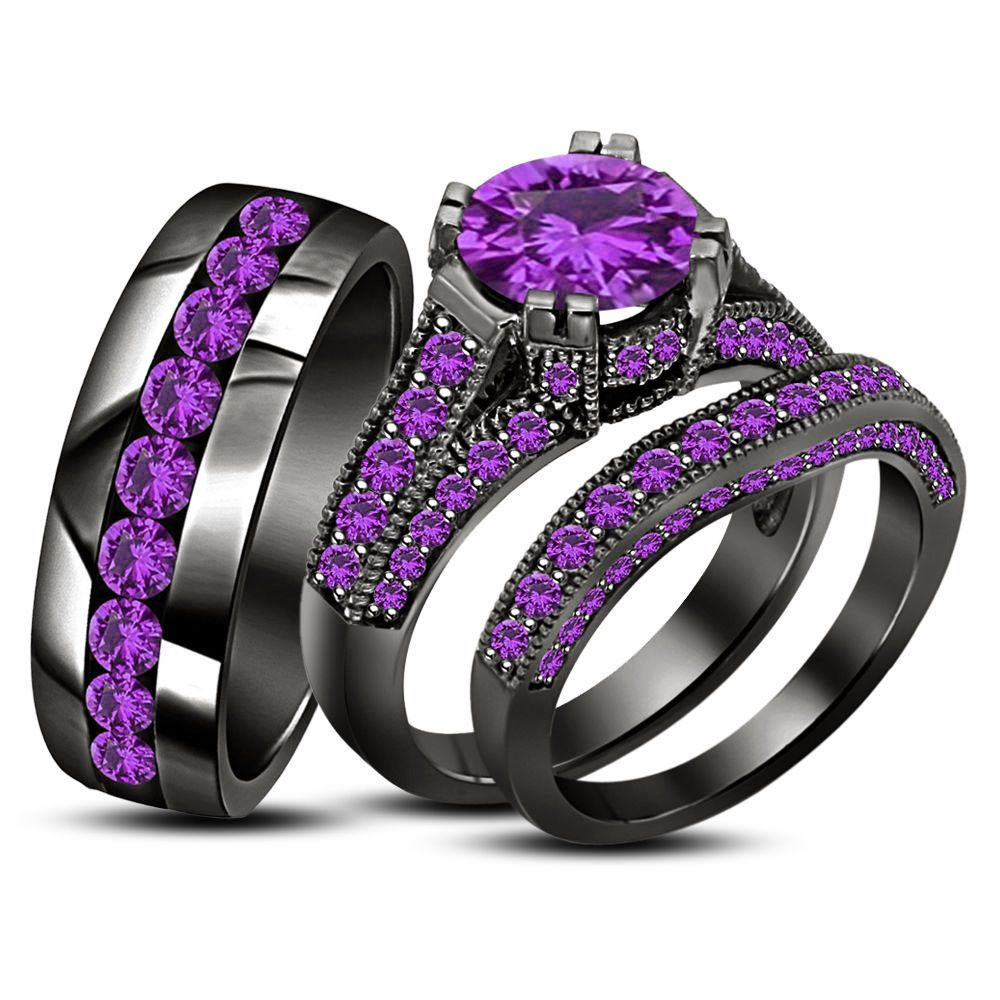 Purple Amethyst Trio His Her Matching Engagement Bridal Ring Set