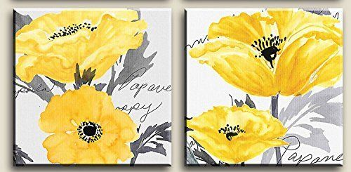 Gray Yellow Flower Floral Canvas Wall Art Modern Prints Flores