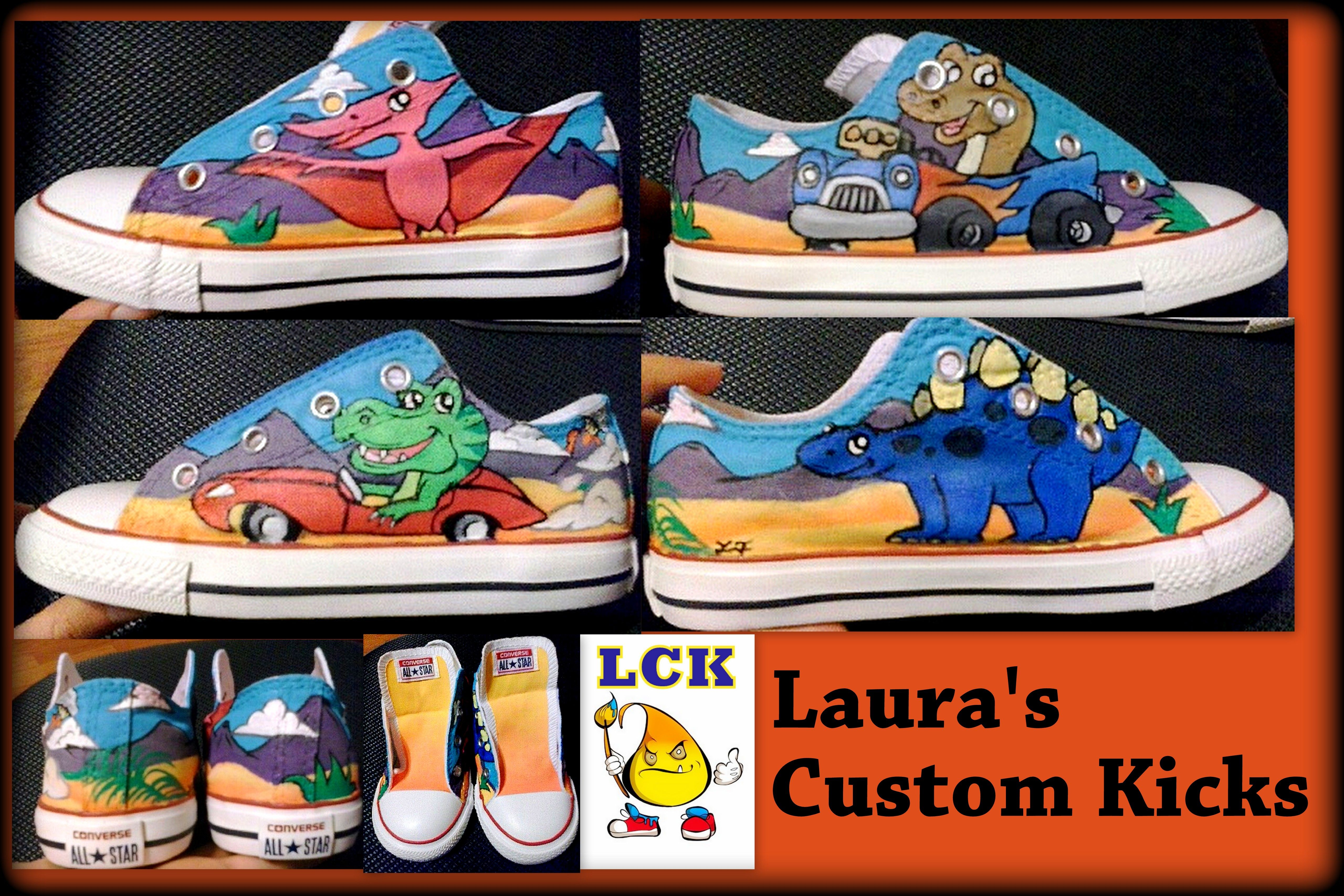 2019576de8e2 Custom hand painted low top converse dinosaur kids theme for Niko. Check  out