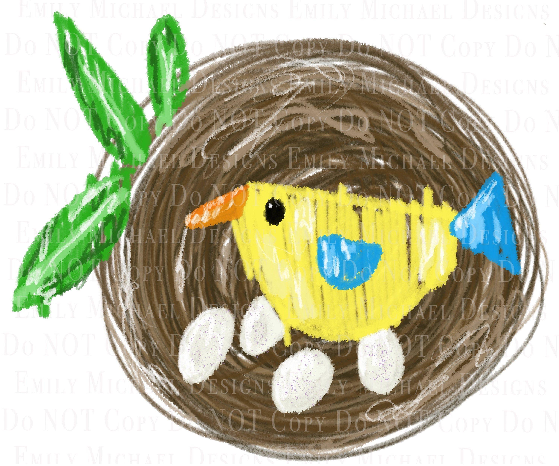 Spring Bird Nest Png Yellow Bird Png Bird Nest Sublimation Png Etsy Spring Art Hand Art Drawing Spring Birds